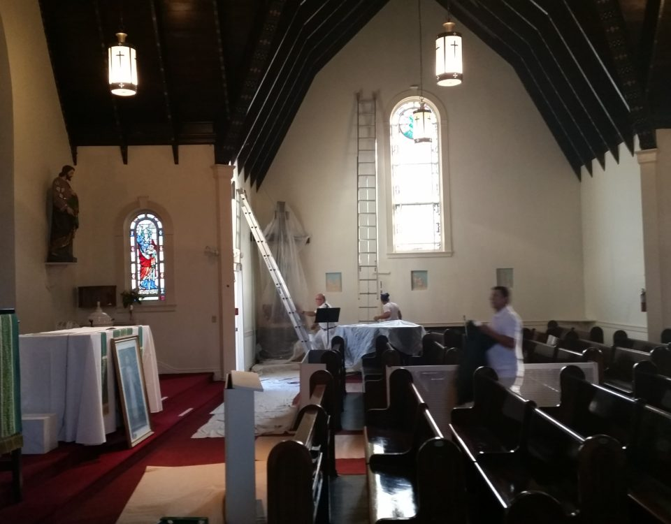 Chameleon Painting Inc. -Interior Painting of the Queen of the Most Holy Rosary Church in Bridgehampton, NY.